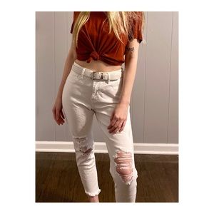 white hollister distressed jeans